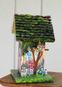 Handcrafted Leaning Yellow Birdhouse by BirdhouseBlessings on Etsy