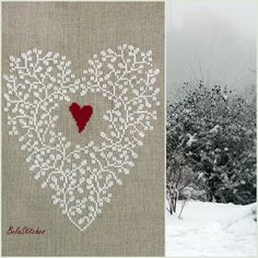 Heart needlepoint-  Laurie H. :) white on linen...beautiful.