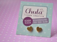 Chula tienda creativa https://www.facebook.com/ChulaTiendaCreativa?fref=photo Amour, amour... Topitos pequeños en #acero. #corazon #aretes #acero