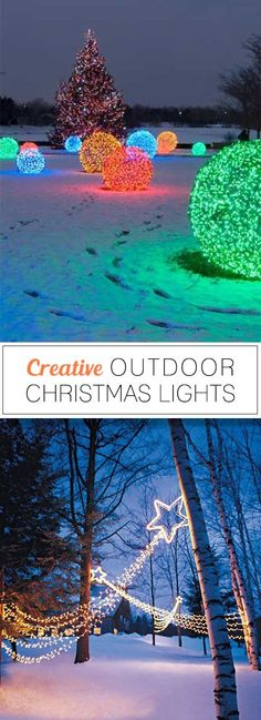 Creative Outdoor Christmas Lights Lots of Great Ideas & Tutorials! Hanging Christmas Lights, Holiday Lights, Holiday Fun, Christmas Lights Outdoor Trees, Christmas Yard, Christmas Projects, Winter Christmas, Office Christmas, Antique Christmas
