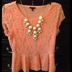 Pretty Peach Lace Top by Apt. 9 Elegant peach colored top with lace design (check photo) emphasizes waist. Very flattering! Just like new! Apt. 9 Tops Blouses