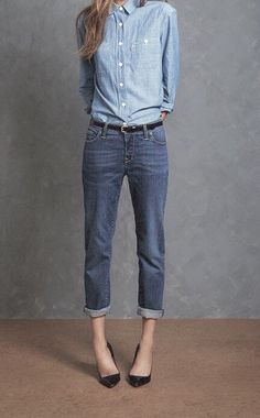 MINIMAL + CLASSIC: chambray & denim with heels
