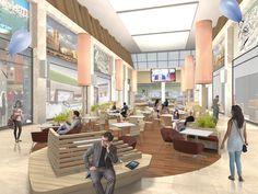 "Render restyling lounge area ""Gran Shopping Mongolfiera Molfetta"" Italy by Tecnostudio"