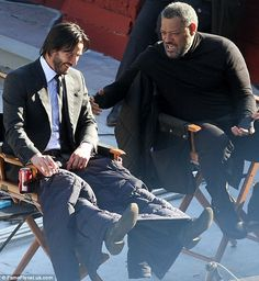 2015 December 15th. Filming John Wick 2 in NYC.  dailymail.co.uk  A pair of Wyld Stallions: Laurence Fishburne had Keanu giggling with glee as he told him an hilarious one-liner.