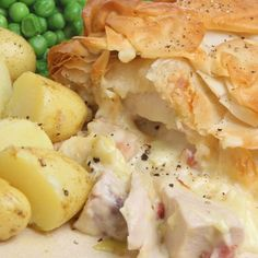 A very flavorful recipe for flaky crust creamy chicken pie. Delicious served with a side of potatoes and vegetables.. Flaky Crust Creamy Chicken Pie Recipe from Grandmothers Kitchen.
