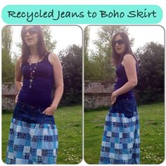 recycled jeans skirt tutorial by Big Boo Little Boo