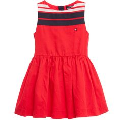 Tommy Hilfiger Red Cotton Dress with Navy Blue & White Ribobns at Childrensalon.com