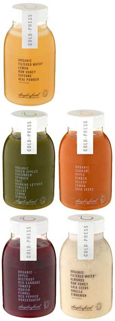 NEW: ORGANIC COLD PRESS JUICES more of a neighborhood juice shop sort of feel. The seal is interesting(always an idea) but i think on plastic it may look a little odd? I also do not like how they don't have a recognizable logo. Juice Branding, Juice Packaging, Cool Packaging, Beverage Packaging, Bottle Packaging, Brand Packaging, Packaging Design, Juice Logo, Packaging Ideas
