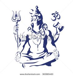 Lord Shiva in the lotus position. Maha Shivaratri. Black and white vectir illustration - stock vector