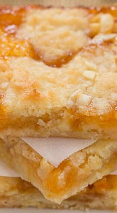 Apricot Bars ~ Scrumptious and unforgettable! Wonder if I can use real cooked apricots and plant an flour for aip. Then no one else would eat them :) 13 Desserts, Cookie Desserts, Cookie Recipes, Delicious Desserts, Dessert Recipes, Bar Recipes, German Desserts, Detox Recipes, Recipies
