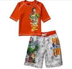 Toy Story Rashguard Shirt Swim Trunks Set Boy's Swimtrunks Board Shorts for sale online Boys Swim Trunks, Toy Story 3, 3 Boys, Swim Sets, Rash Guard, Disney Pixar, Shorts, Board, Swimwear