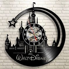 CD Vinyl Record Wall Clock Modern Cartoon Design Black Wall Watch Home Decor Clock Relogio Parede for Children Gift Vinyl Record Clock, Record Wall, Vinyl Records, Record Decor, Disney Home Decor, Disney Crafts, Casa Disney, Disney House, Chateau Disney