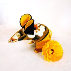 Retro ReBorn Mouse  vintage fabric  60s Daisy  by audreyscat