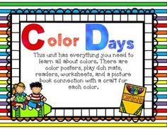 Color Days unit has everything you need to teach about colorS through picture books. There are playdoh mats, mini books, morning work, and lesson plans for each color. Teaching Activities, Teaching Ideas, Color Of The Week, Preschool Colors, Kindergarten Class, Morning Work, Picture Books, Mini Books, Lesson Plans