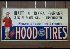 Near MINT Original Hood Tires Tin Tacker Sign