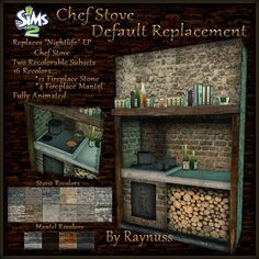 """I've been using an invisible recolor of the Nightlife EP's """"Tempest Cooktop from Cuas"""" Chef's Stove as a default replacement for my Medieva. Fireplace Mantels, Sims 2, Victorian Era, Nightlife, Regency, Stove, Medieval, Video Games, Appliances"""