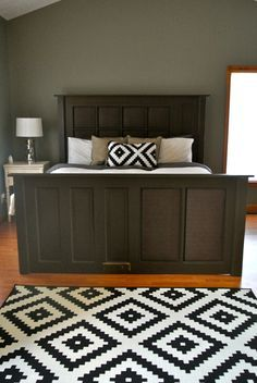 DIY:  How to Make a Headboard and Bed Frame from Salvaged Doors - Cotten Tales
