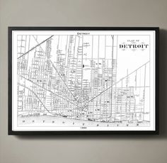 DETROIT Map Print, Black and White Detroit Decor Detroit is a city of firsts. Its the first city to pave a mile of concrete road; its responsible for New York City Map, City Maps, Detroit Map, Sydney Map, Michigan, Philadelphia Map, City Map Poster, Free Printable Art, Paris Map