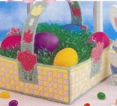 Crib Beaded Basket, Annies plastic canvas pattern in Crafts, Needlecrafts & Yarn, Needlepoint & Plastic Canvas Plastic Canvas Stitches, Plastic Canvas Tissue Boxes, Plastic Canvas Crafts, Plastic Canvas Patterns, Printable Christmas Ornaments, Free Christmas Printables, Christmas Crafts, Plastic Canvas Christmas, Diy Crafts Jewelry