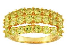 Stratify 2.65 cttw Round Manchurian Peridot 18K Yellow Gold Over Sterling Silver 3-Row Ring