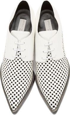 Stella McCartney Black & White Check Scarpa Derby Shoes