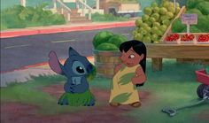 Hidden Mickeys from Disney Films.  Lilo and Stitch had quite a few Easter eggs sprinkled through out the film.  In this scene, fruit makes the  right shapes.