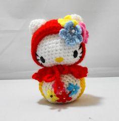 PDF Amigurumi Pattern: Kitty in Matryoshka outfit. $6.00, via Etsy.