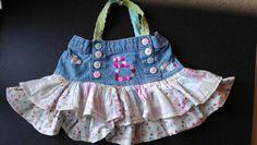 Girls bag made from a skirt