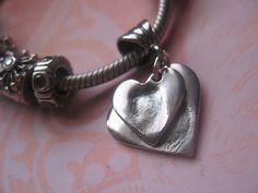 Fine Silver Fingerprint Jewellery - Fingerprint impression charms to fit Pandora xoxo