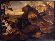 "Titian (Tiziano Vecellio) Italian, Pieve di Cadore ca. 1485/90?-1576, Venice: ""Orpheus and Eurydice""."