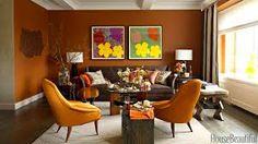 Living room paint colors - the 14 best paint trends to try Orange Living Room Paint, Burnt Orange Living Room, Orange Rooms, Orange Walls, Living Room Colors, My Living Room, Living Room Designs, Orange Chairs, Living Room Decor Images