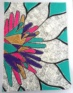 "Deaf Art - ""Flower of Hands Speak Loud"" © Copyright Ashley Shaffer (www.etsy.com/shop/ashmariesha)"