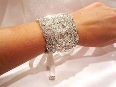 Bridal cuff bracelet, wedding bracelet, wedding jewelry, antique silver, vintage style bracelet, Swarovski crystals, Dramatic, wide bracelet. $165.00, via Etsy.