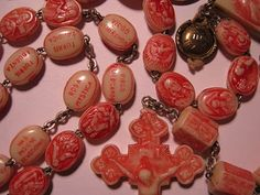 wonderful Civelli rosary, dated 1950 holy year, relic compartment intact, soil from catacombs, Rome