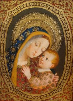 """""""Madonna with Baby in Coral Robe"""" icon art by Diana Mendoza, Peru. Religious Pictures, Religious Icons, Religious Art, Blessed Mother Mary, Blessed Virgin Mary, Divine Mother, Madonna, Peruvian Art, Images Of Mary"""
