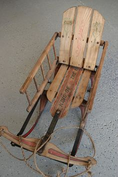This is an antique sled. Primitive Furniture, Primitive Antiques, Vintage Sled, Vintage Toys, Primitive Christmas, Christmas Fun, Diy Wooden Sled, Snow Sled, Homemade Christmas Gifts