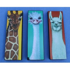 Animal Art for Children Llama Ostrich Giraffe Wood Collage Prints of Painting. $35.00, via Etsy.