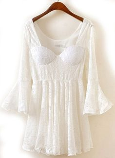 Little white lace dress boho style