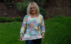 crochet jacket - my own design. Crochet Jacket, Knitting, Blouse, Jackets, Tops, Design, Women, Style, Fashion