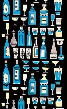 Vintage Graphic Design, Retro Design, Design Art, Modern Design, Gravure Illustration, Retro Illustration, Cocktail Illustration, Mid Century Modern Art, Mid Century Art