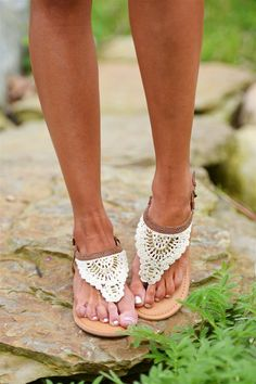 These unique crochet sandals promise to add interest to all of your sunny day outfits! The beautiful beaded details put these thong sandals on a whole new level