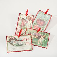 Vintage Valentine's Day Postcard Ornaments from World Market - easy to string across a fireplace mantel for a whimsical touch
