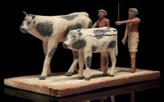 Egyptian Agricultural Model, Middle Kingdom, C. 2055-1650 BC.  Made of wooden polychrome stucco, possibly from ancient Asyut.  Ancient & Medieval History
