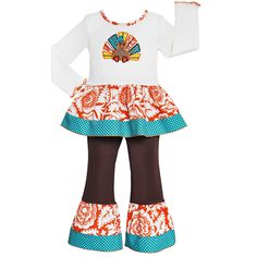 Dress your little one up in something fun and festive with this turkey embroidered tunic and pants outfit. Featuring a shirt trimmed with damask and chevron print, this outfit is completed by long knit pants with coordinating ruffles.