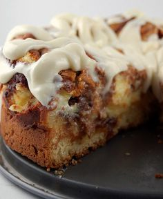 Cinnamon roll cheesecake with cream cheese frosting….