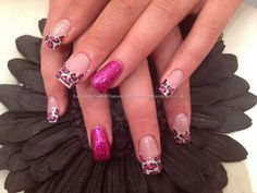 Full set of acrylic with fairy godmother polish and leopard print #nail art