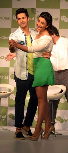Bollywood stars Parineeti Chopra and Varun Dhawan , the brand ambassadors of WeChat, a mobile social communication application, kicked off its latest marketing campaign at a Latest Bollywood Events in Mumbai. In between singing, mock jokes, teasing each other and posing for shutterbugs with their WeChat pillow merchandise, the actors spoke about their relationship with the brands and their favorite features of the app.