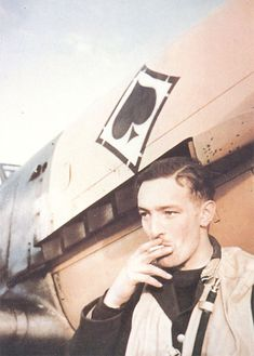 """""""taken during the Battle of Britain was this shot of Friedrich Müller in front of his III./JG53 Bf 109E (two victories). He was killed in a landing accident on 29th May 1944 after achieving 140 victories.."""" (via)"""