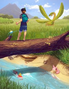 The moment I first saw Tropius in Ruby version, it became one of my top favorite Pokemon. Since then I've been trying to find a shiny on Route 119- to no avail. Years and years later I found a shiny Tropius in X, but it didn't feel the same. Nothing can compare to seeing a new Pokemon for the first time. Here's a mashup of the two moments, though. :D There are seven kinds of Pokemon in this image - can you find them all? Enjoy!