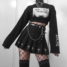 Anime graphic crop-top w/ fishnet long sleeve, long black skirt w/chains and fishnet stockings and high socks. Edgy Outfits, Mode Outfits, Retro Outfits, Grunge Outfits, Cute Casual Outfits, Goth Girl Outfits, Anime Outfits, Grunge Clothes, Female Outfits